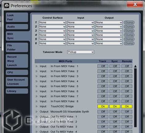 Рис.11. Настройки Touch OSC в Ableton