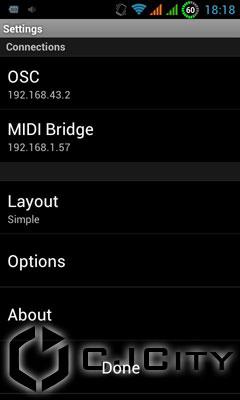 Рис.10. Настройки Touch OSC в телефоне