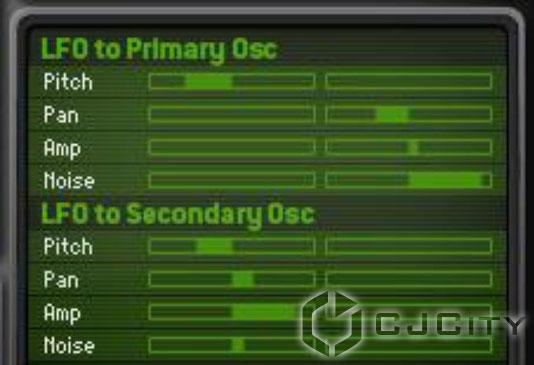Слайдеры Lfo to Primary Osc и Lfo to Secondary Osc