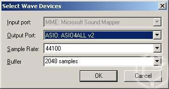 Рисунок 5. ASIO4ALL в качестве звукового драйвера.