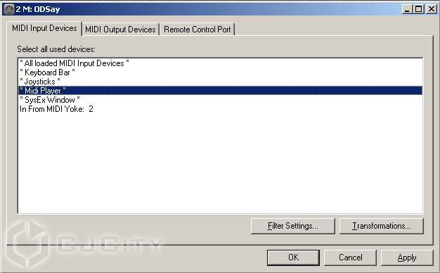 Рисунок 6. Источники MIDI для плагина.